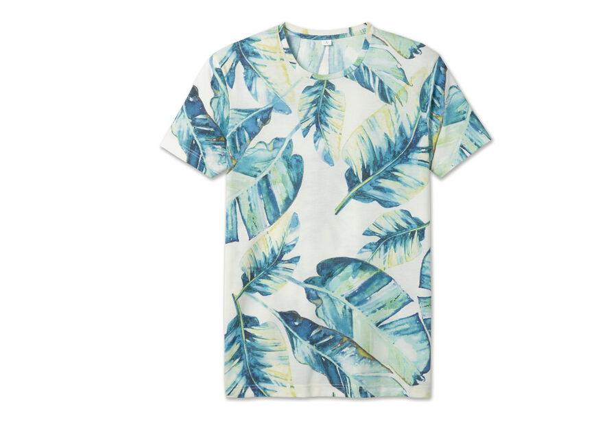 Tee shirt imprimé maxi feuilles tropicales