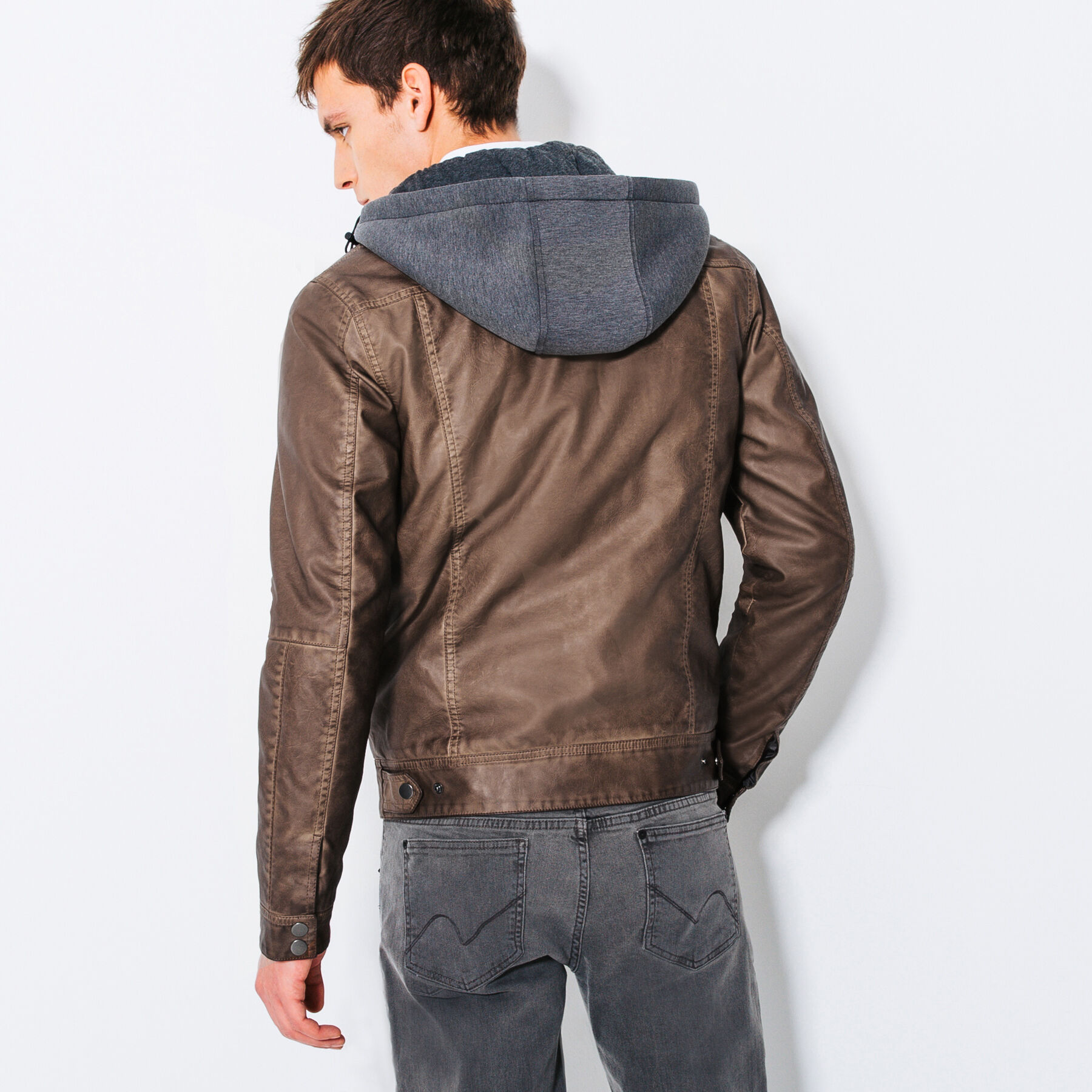 Veste simili cuir marron jules