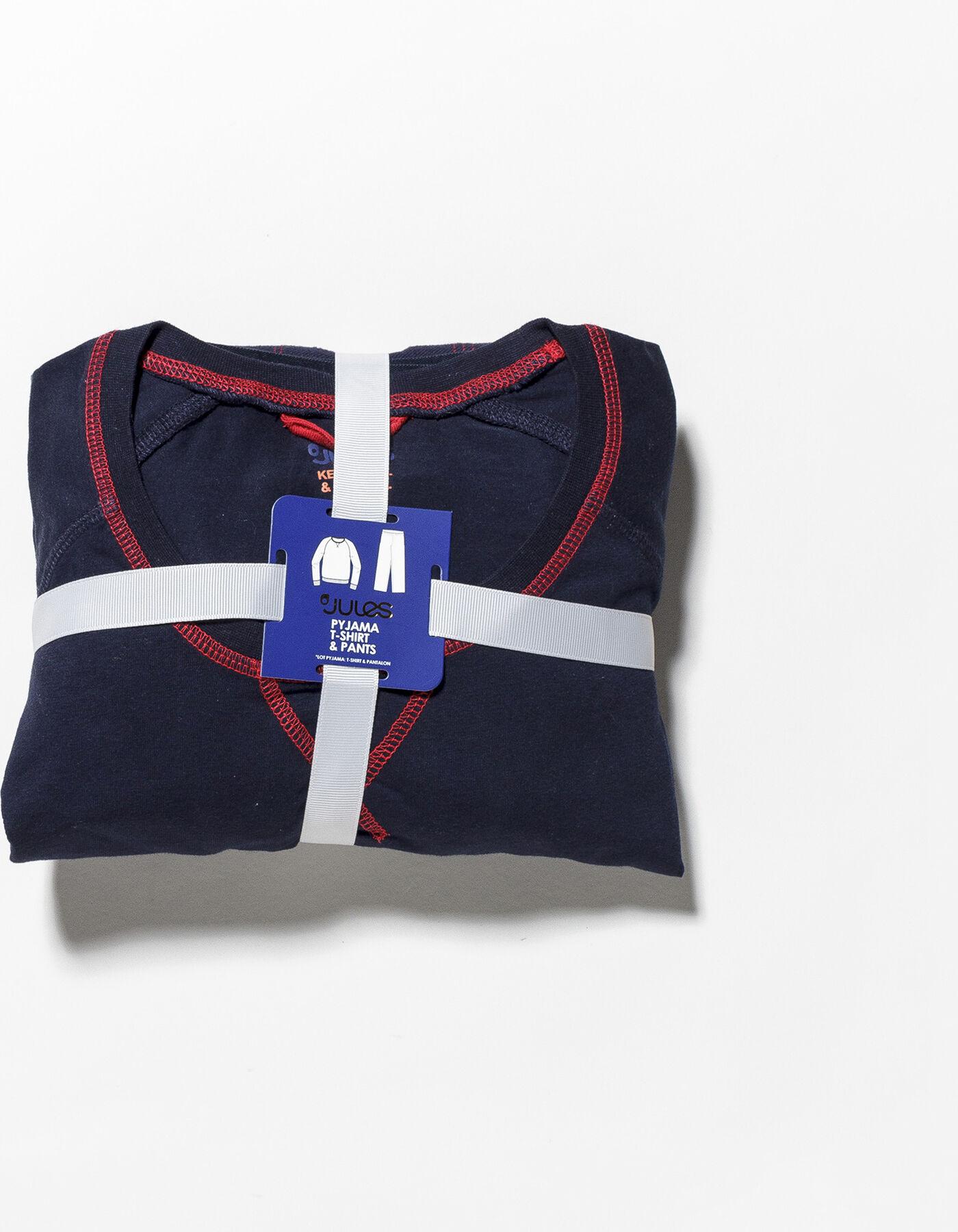 pyjama bas chaine et trame tshirt manches longues bleu vif. Black Bedroom Furniture Sets. Home Design Ideas
