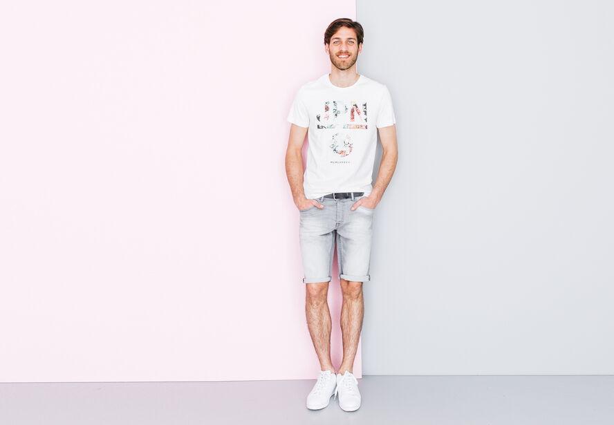 T-shirt col rond imprimé fleurs