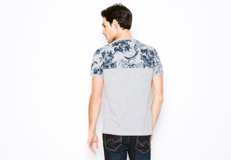 T-shirt col rond colorblock fleurs