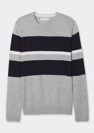 Pull col rond rayures bicolores color block