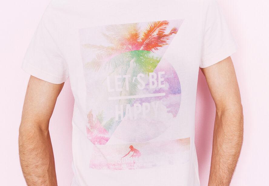 """T-shirt col rond imprimé """"Let's be happy"""""""