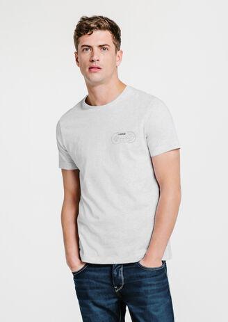 Tee-shirt gris clair col rond imprimé Super Ninten