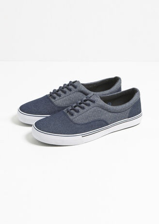 Lage sneakers denim tweekleurig