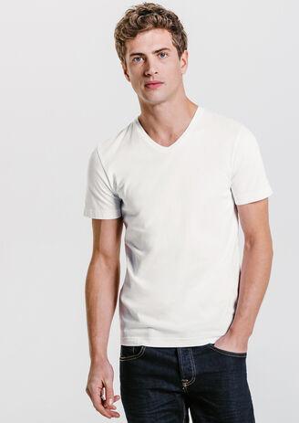 Tee shirt collo a V in cotone biologico
