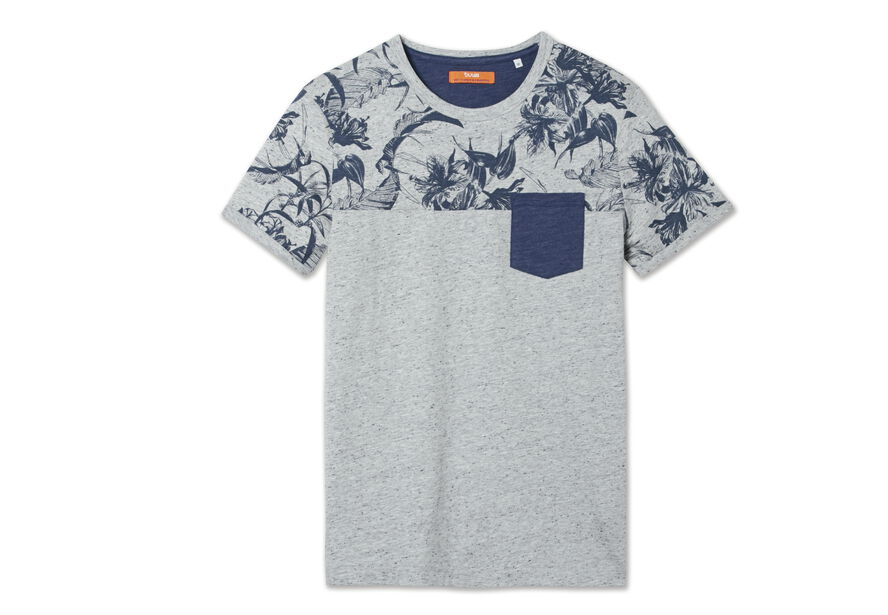 T-shirt col rond colorblock imprimé fleurs