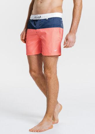 Short de bain court Color Block avec poche arrière