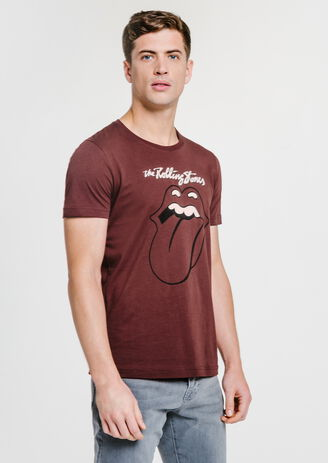 Tee-shirt bordeaux col rond The Rolling Stones