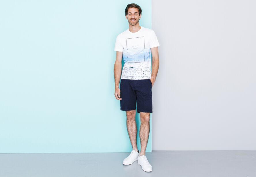 """T-shirt col rond imprimé """"plage"""""""