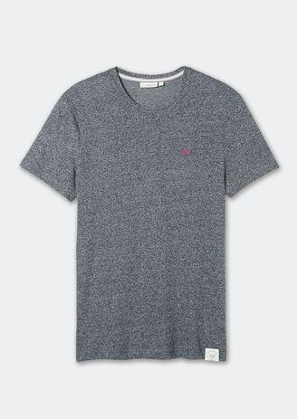Tee-shirt gris fantaisie col rond broderie vélo