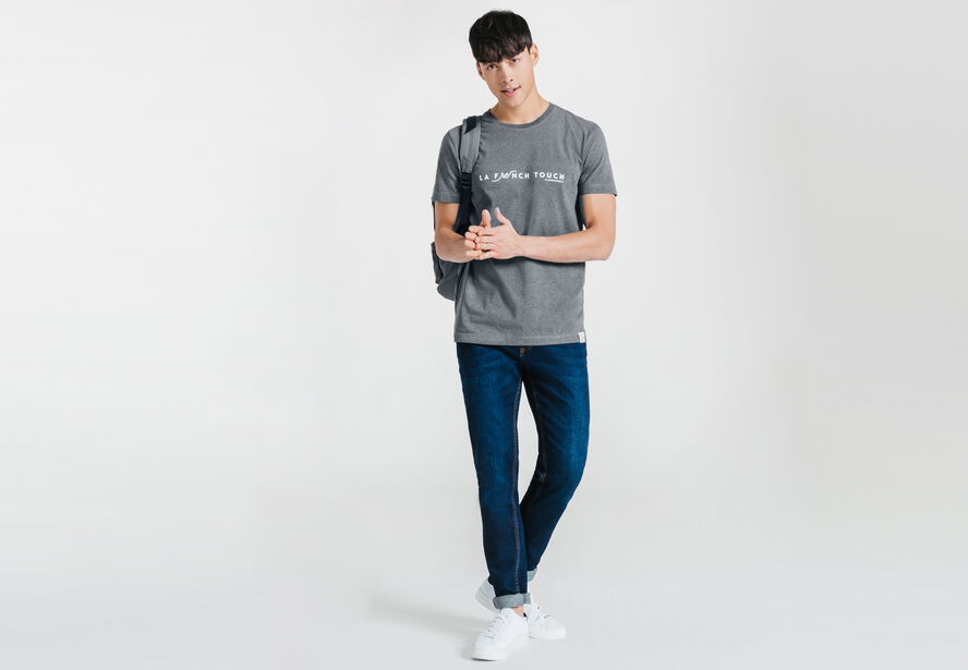 Tee-shirt gris anthracite col rond La French Touch