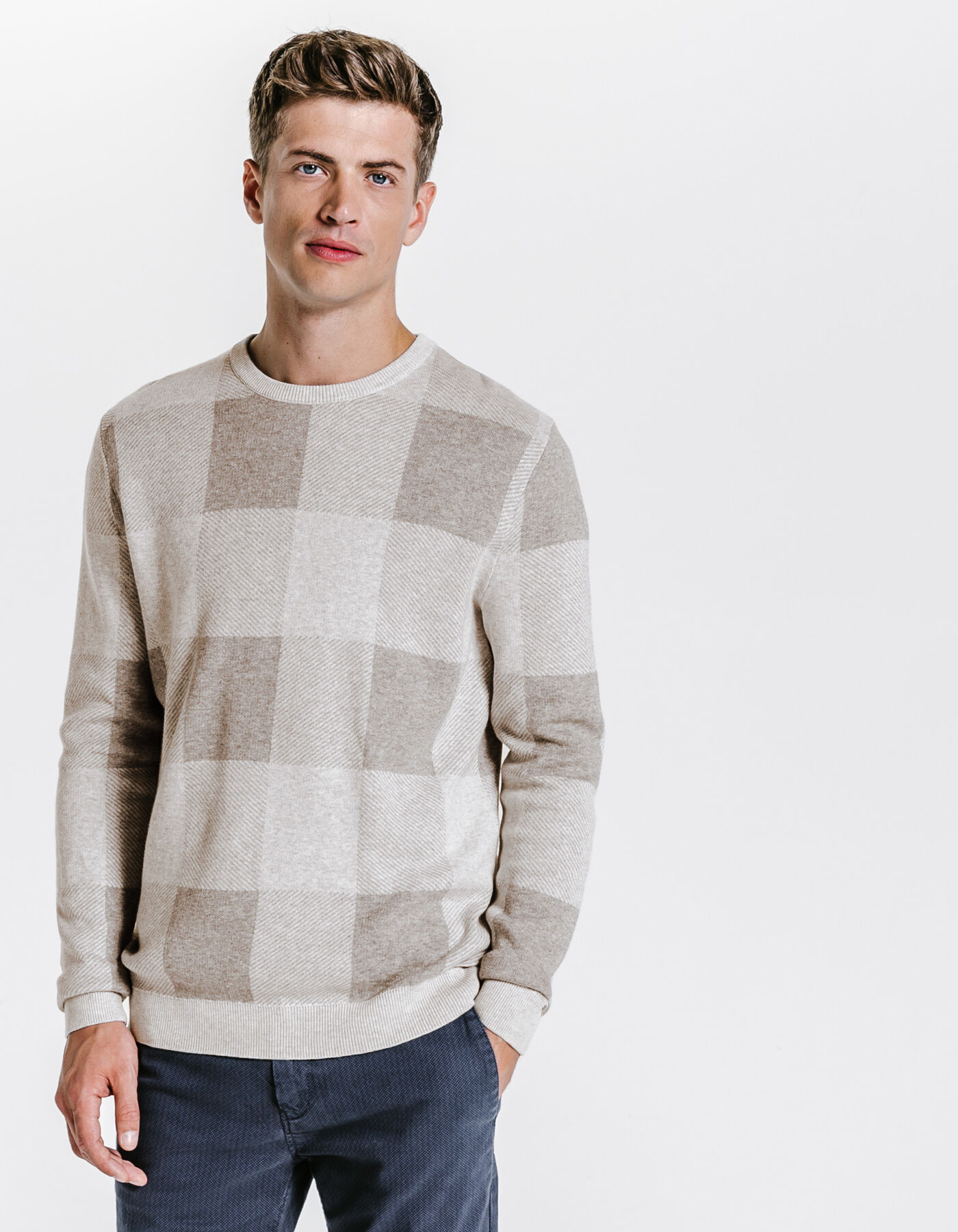 Pull carreaux g ants gris chine clair homme jules for Pull a carreaux