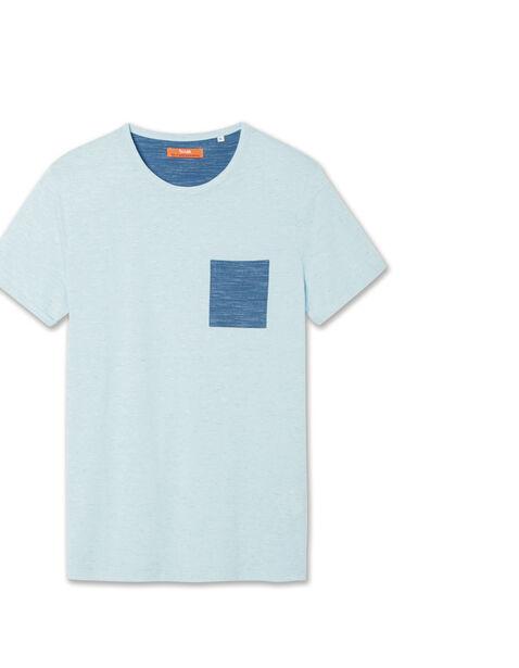 Tee shirt col rond poche contrastante
