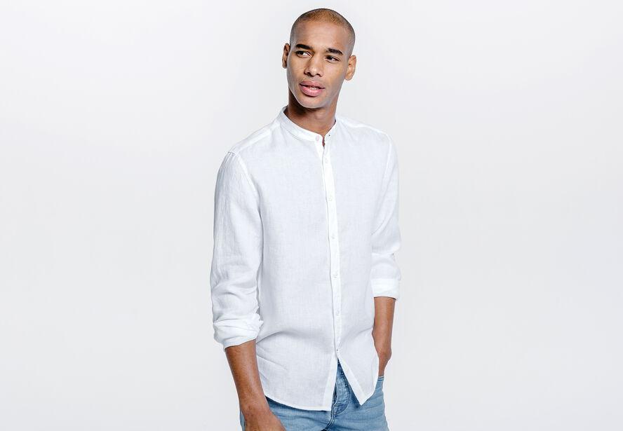 chemise pur lin col officier ajust e blanc homme jules. Black Bedroom Furniture Sets. Home Design Ideas