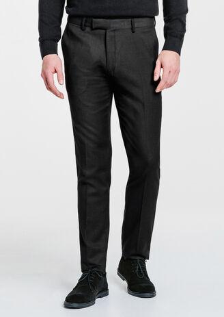 Pantalon de costume fitted micro carreaux noir...