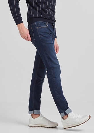 Jean slim urbanflex lavé bleu homme