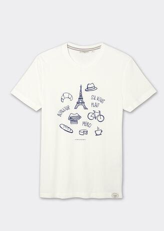 Tee-shirt col rond imprimé dessins français