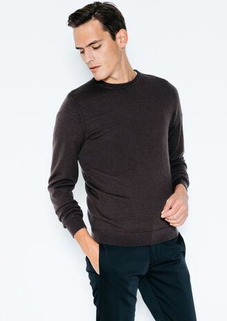 Pull col rond zip épaule en laine mérinos