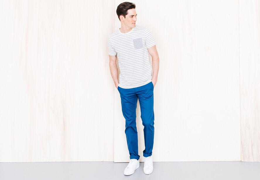 T-shirt marinière poche Fabrication Française