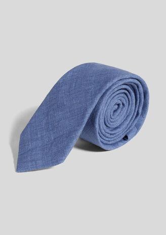 Cravate unie bleue 100%lin