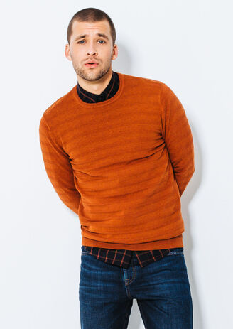 Pull tricotage effet rayure reliéfée
