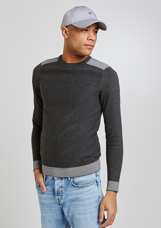 Pull col rond empiècement micro-jacquard