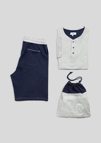 Pyjama homme bicolore gris bleu marine