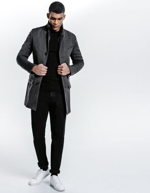 manteau long parmenture amovible gris homme jules. Black Bedroom Furniture Sets. Home Design Ideas