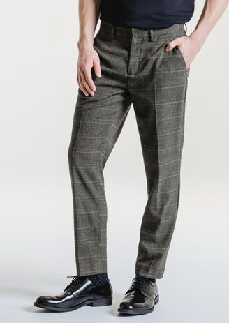 Pantalon chino slim Prince de Galles