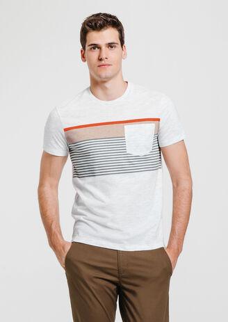 tee shirt block rayure poche poitrine