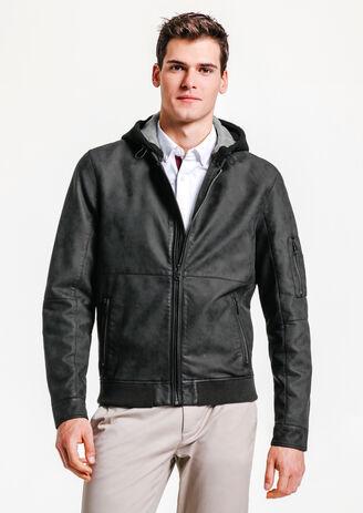 Blouson simili cuir capuche lainage amovible