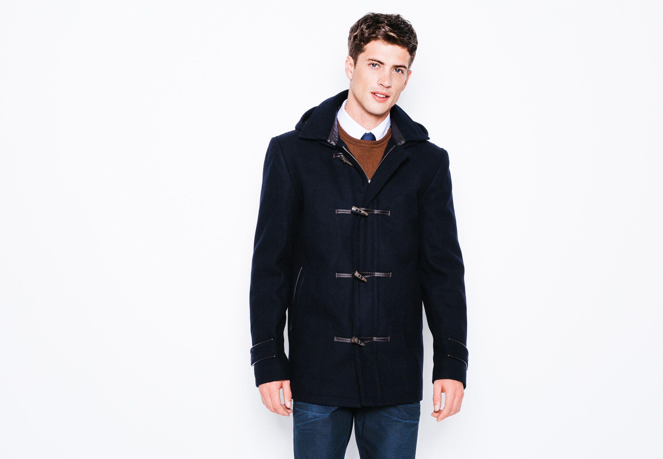 manteau lainage type duffle coat bleu marine homme jules. Black Bedroom Furniture Sets. Home Design Ideas