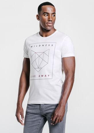 tee shirt imprimé tête de loup origami