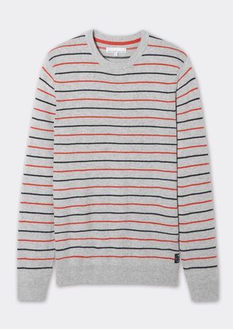 Pull col rond micro-rayures bicolores