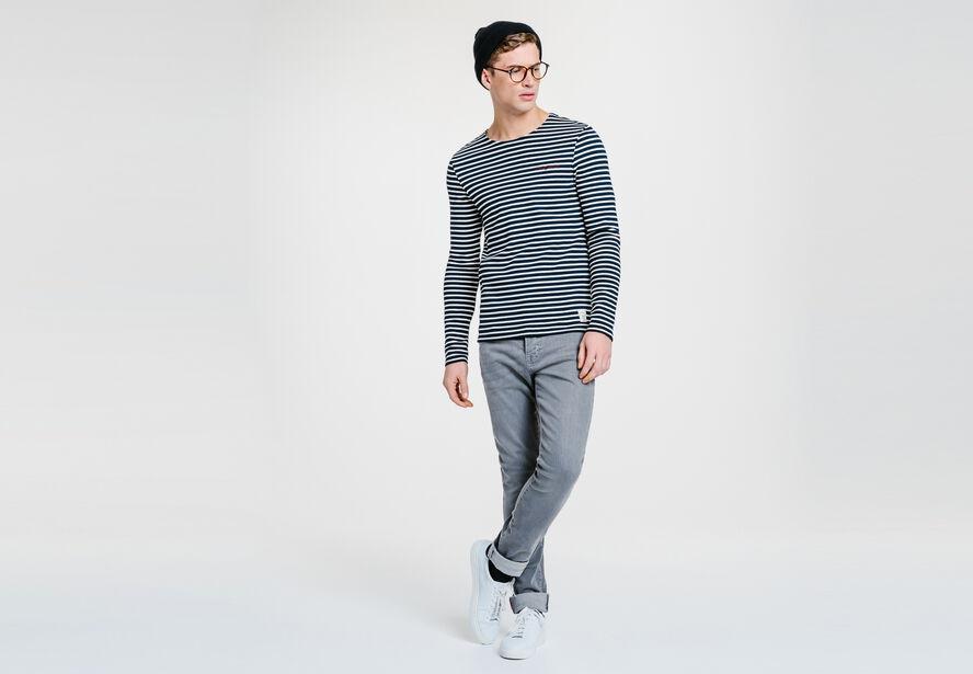 Tee-shirt bleu col rond rayé