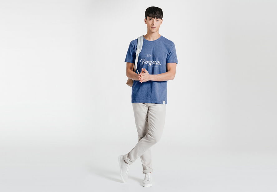 Tee-shirt bleu chiné col rond imprimé