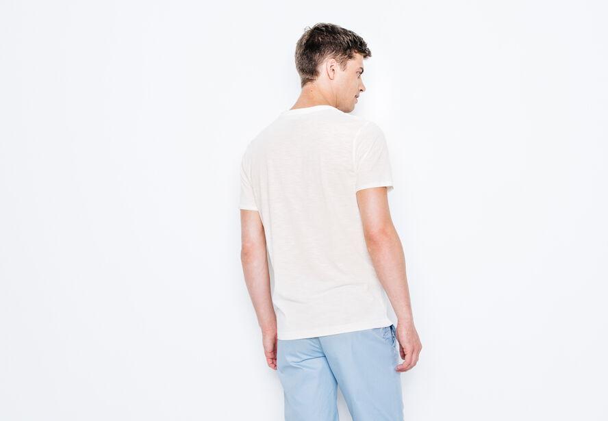 T-shirt col V en fil coton biologique