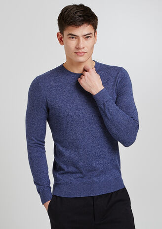 Pull col rond soie