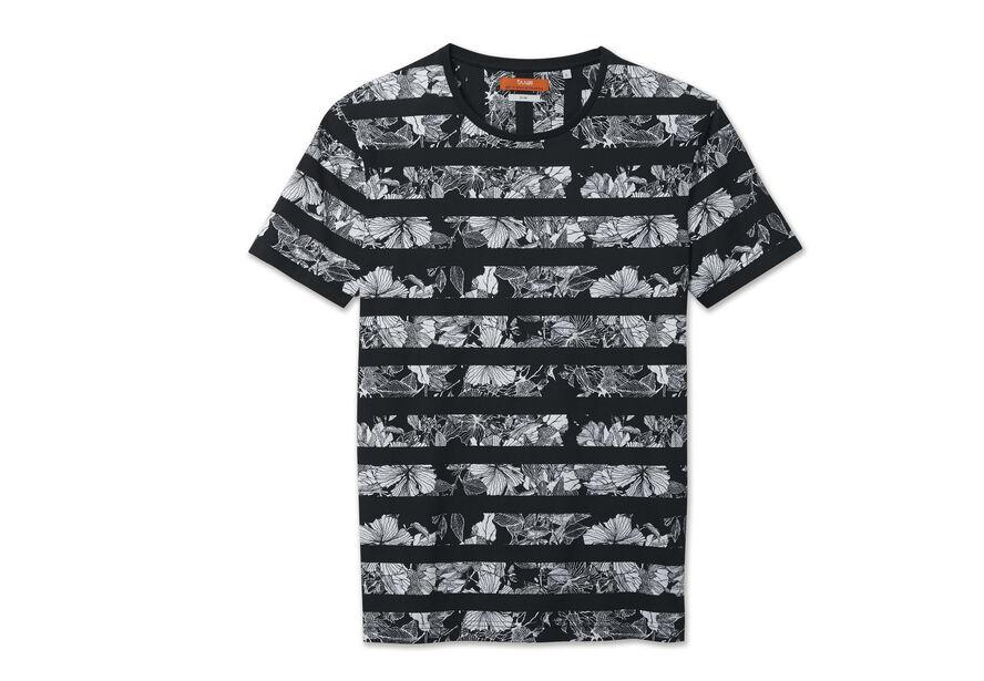Tee shirt col rond imprimé rayure et fleurs