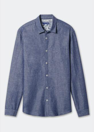 Chemise ajustée en coton lin