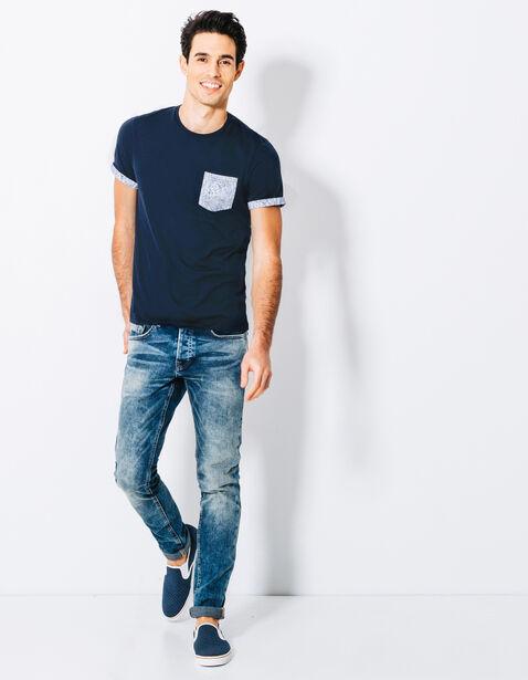 T-shirt col rond poche en feuillage