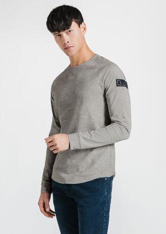 Tee-shirt col rond matière gaufrée