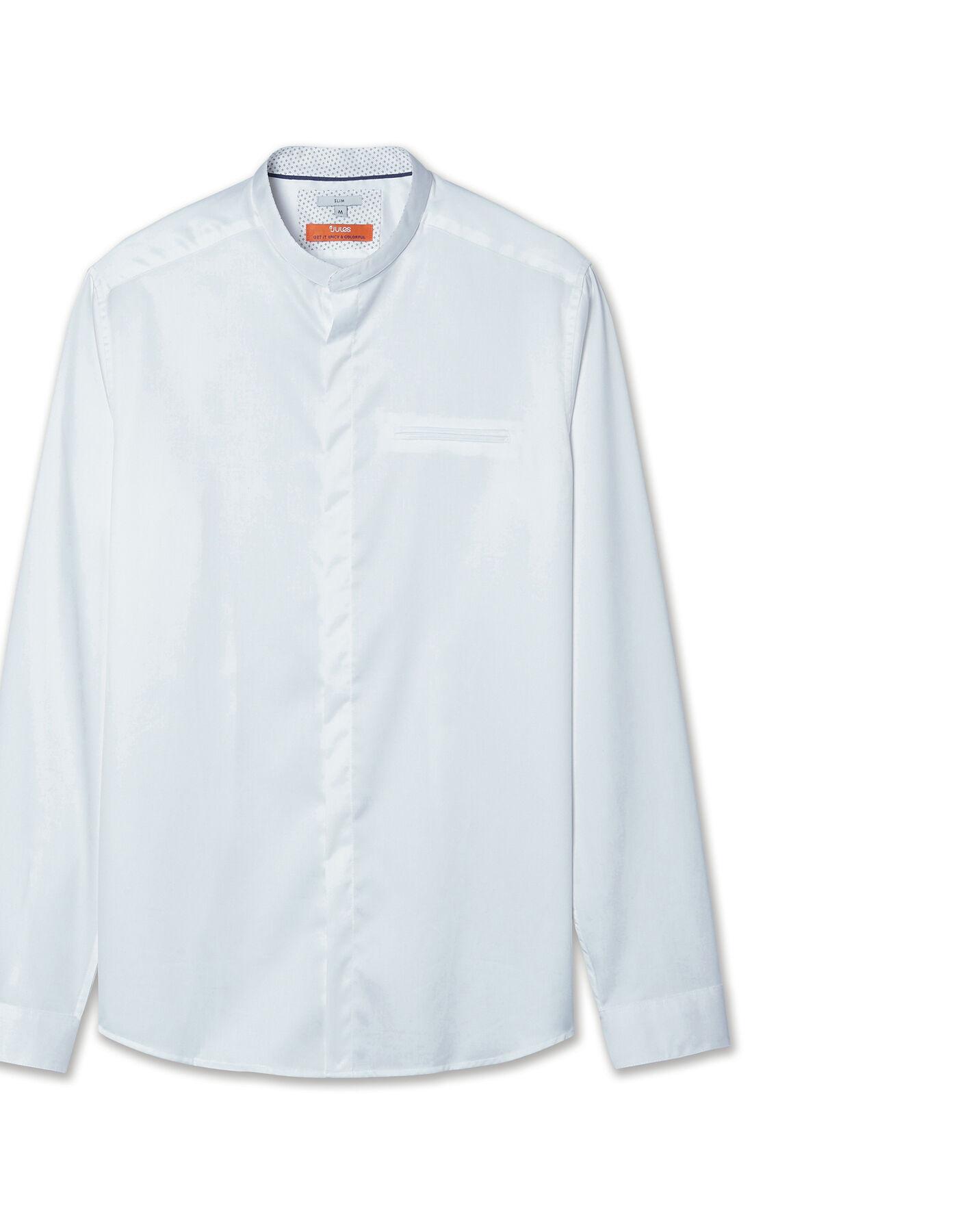 chemise slim col officier blanc homme jules. Black Bedroom Furniture Sets. Home Design Ideas