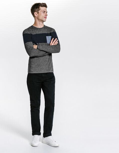 Tee shirt bande et poche chambray