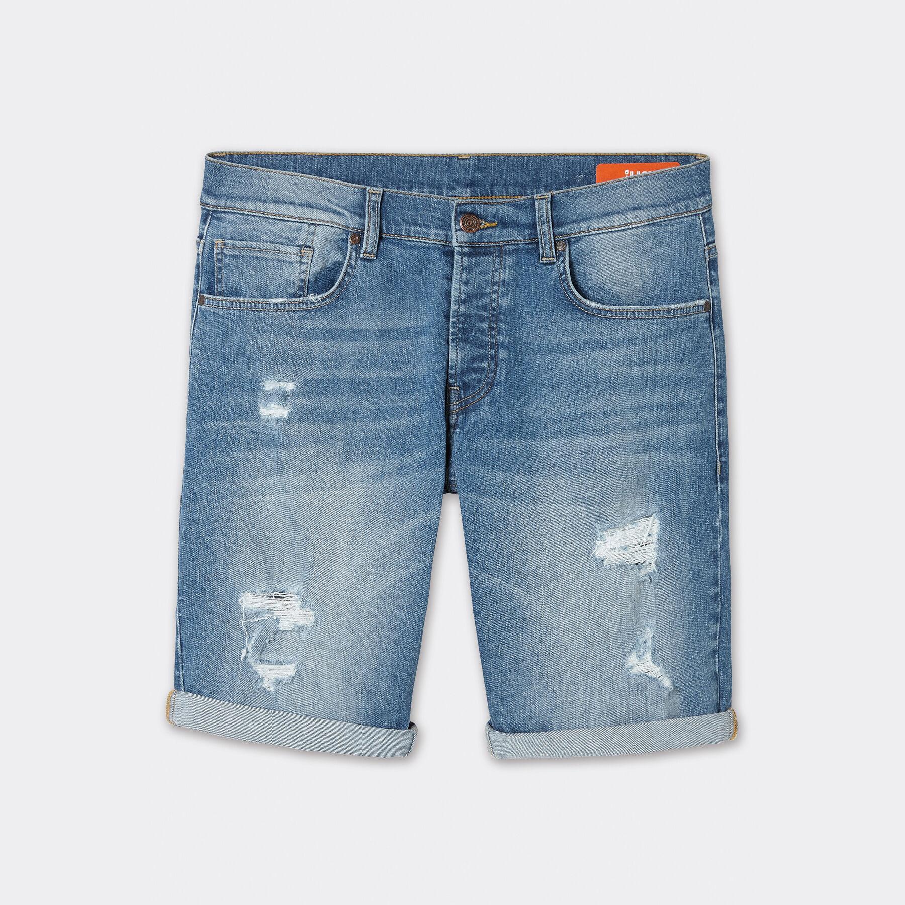 Short jean bleu clair homme