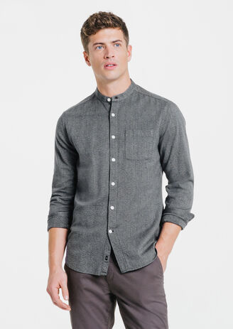 Chemise bleu gris fitted col mao