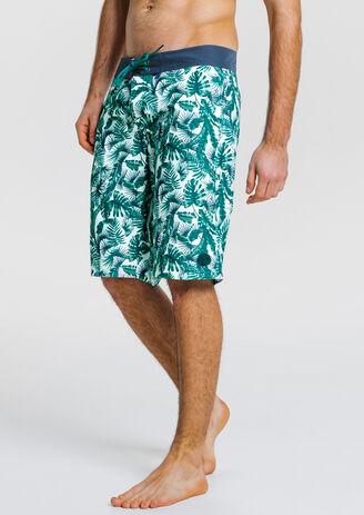 Short de bain homme long imprimé palmiers bicolore