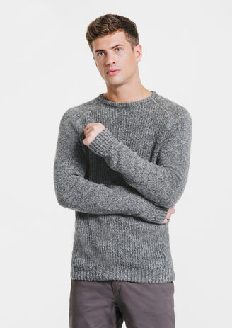 Pull col rond chiné laineux