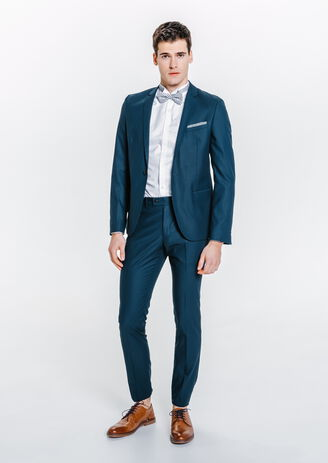 Costume slim bleu canard